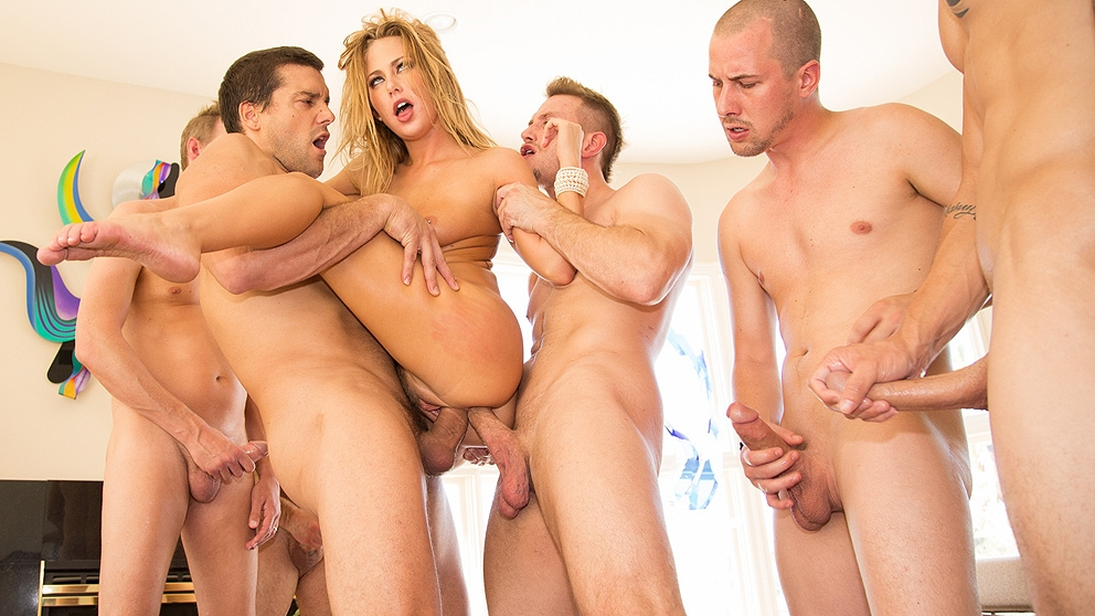 Cute Girl Fucked By A Huge Group Of Horny Men