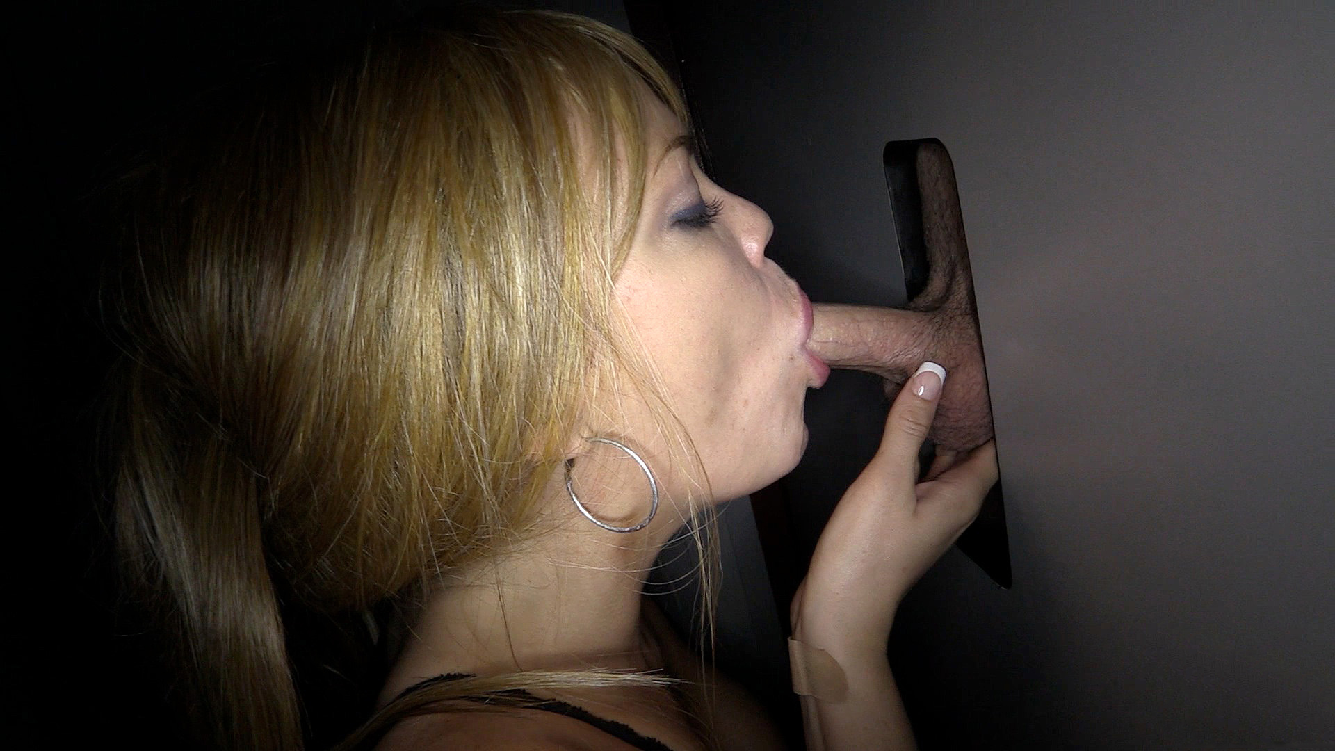 Two hot women happy with glory hole